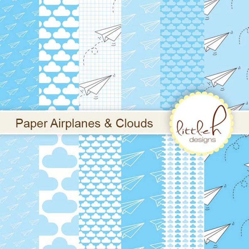 21d75c42a9fe1 Digital Paper / Paper Airplanes and Clouds - 12 Designs: 12