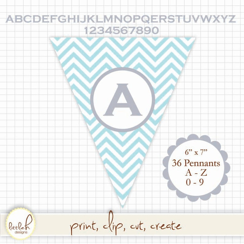 53290fdf1e775 Printable Pennant - Chevron Blue (Turquoise) Grey Lettering - A-Z & 0-9  Create any message!