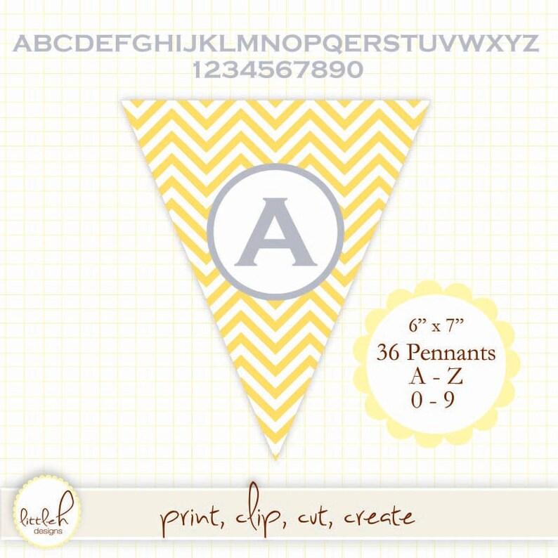 3a35d7ca9aacb Printable Pennant - Chevron Citron A-Z & 0-9 Create any message!