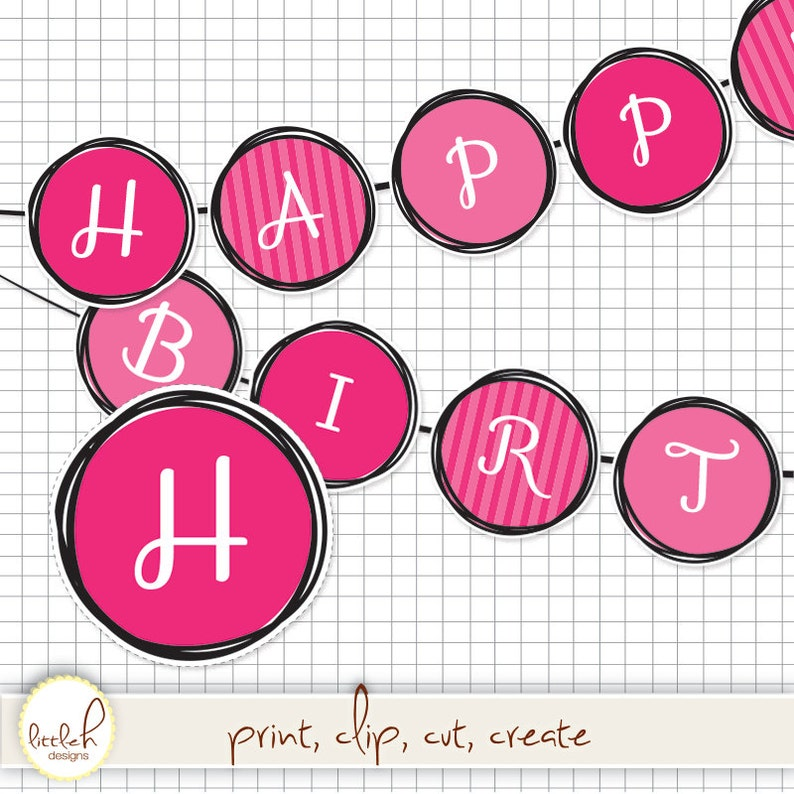 e5b067c298927 Printable Pennant Set - Pretty and Pink Scribble Dot - HAPPY BIRTHDAY  message / Circle Pennant / Diva / DIY / Digital