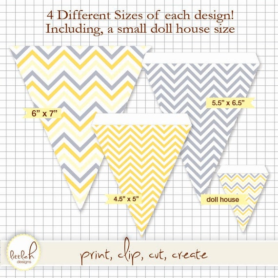 86472264669d9 Printable Pennant and Paper Set - Chevron Grey and Citron (Yellow) -  Multiple Sizes and *bonus dollhouse size