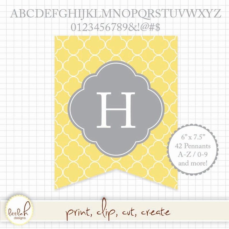 e1e1efca3a8f1 Printable Pennant - Quatrefoil Yellow and Gray (Grey) A-Z & 0-9 Symbols 6