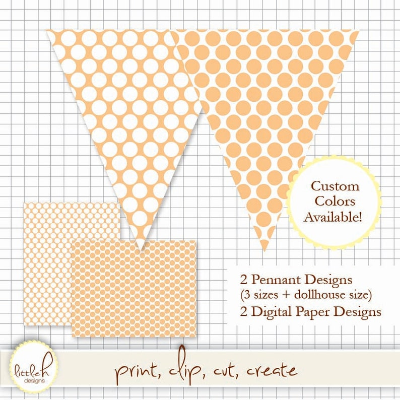 b9fe23e185d7f Printable Pennant and Paper Set - Download and Print! Large Dots Peach -  Multiple Sizes and *bonus dollhouse size