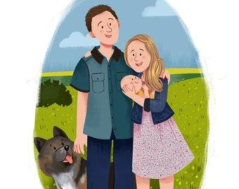 Christmas present - Christmas idea - Anniversary gift - Christmas gift - Print Custom Family Cartoon Gift - Family portrait