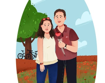 Custom Couple Portrait, Personalized portrait, Custom illustration, Couple Picture Frame, Portrait couples, custom anniversary gift