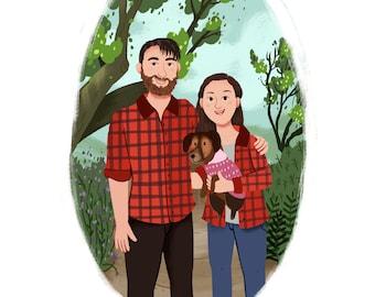 Custom Christmas gift, Custom family portrait illustration, Personalised family gift idea, Digital portrait from photo, Gift for men
