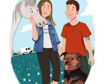 Custom Family Portrait - Family Portrait illustration - Custom Portrait - Personalised Family Print, Family Cartoon, Mother's Day, Valentine