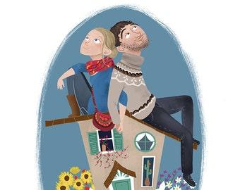 custom illustration, portrait couple personalized portrait digital art custom illustration, couple portrait, family drawing, original gift
