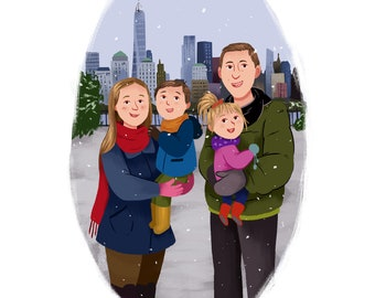 christmas decorations - Custom Family Portrait - Christmas Cards - Holiday Family Card - Personalised Portrait Custom Family Illustration
