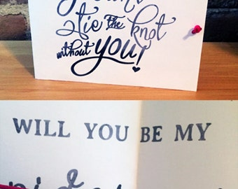 I can't tie the knot without you... Will You Be My Bridesmaid / Maid of Honor / Flower Girl CUSTOM COLOR knot - Card, Wedding, Bride