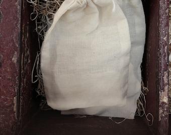 "Drawstring Pouches / Cotton Fabric Muslin Bags 4""x6"""