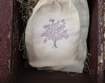 """Hand Stamped Drawstring Pouch Bag / Cotton Muslin Bags 3.25""""x5"""" Gift or Packaging"""