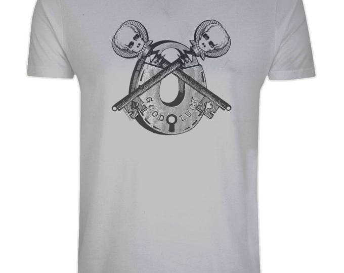 Good Luck Skeleton Key Vintage Padlock Skull Organic Cotton T-Shirt. Grey. Plus Sizes.