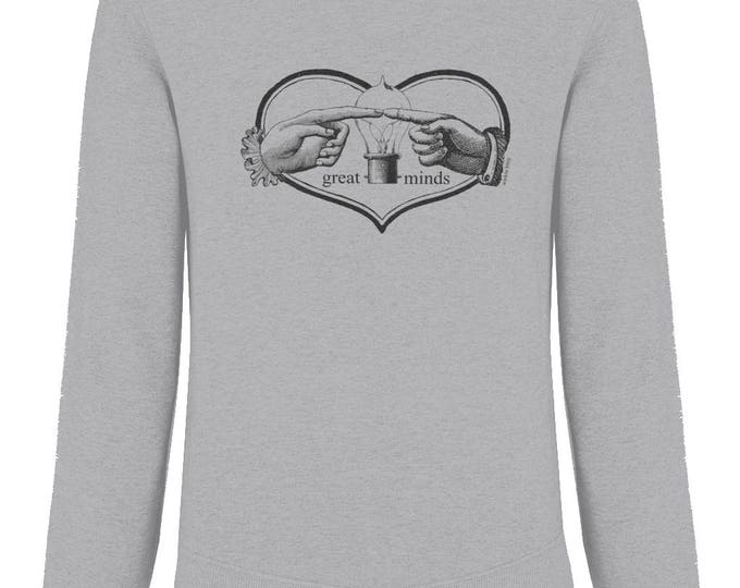 Hands And Light Bulb 'Great Minds' Organic Cotton Unisex Raglan Sweatshirt. Sizes M-XXL. Heather Grey.