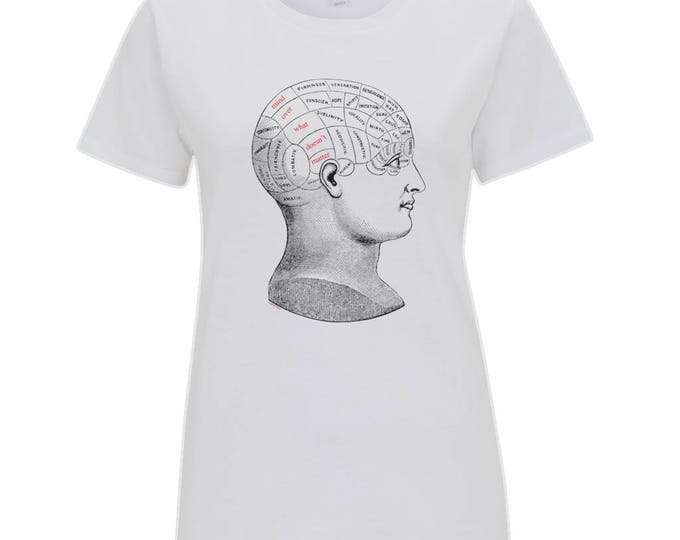 Vintage Phrenology Head Diagram 'Mind Over What Doesn't Matter Womens Organic Cotton T- Shirt. White.