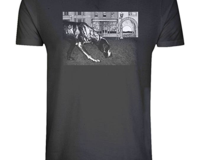 Black Dog Soleil Print Organic Cotton T Shirt. Sizes S-5XL. Plus Sizes. Black.