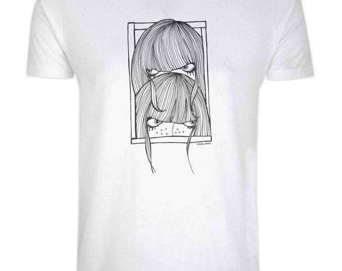 Seek Not Hide Shy Girls Original Line Drawing Art Illustrated Organic Cotton T-Shirt. Grey.