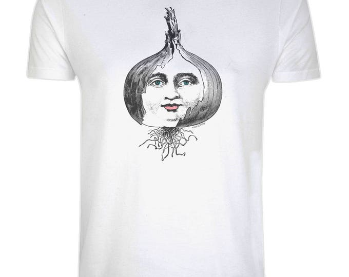 Layers Of An Onion Altered Vintage Face Line Drawing Illustrated Organic Cotton T-Shirt. White. Plus Sizes.