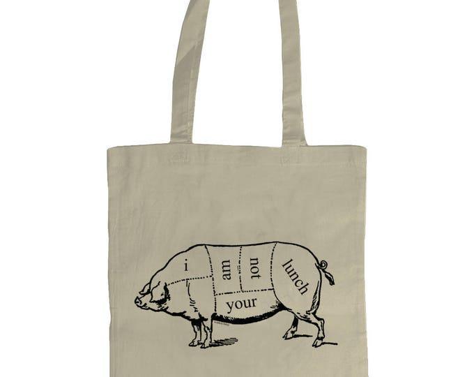 I Am Not Your Lunch. Tote Bag With Vintage Pig Butcher Diagram Vegan Vegetarian Design. Natural Cream.