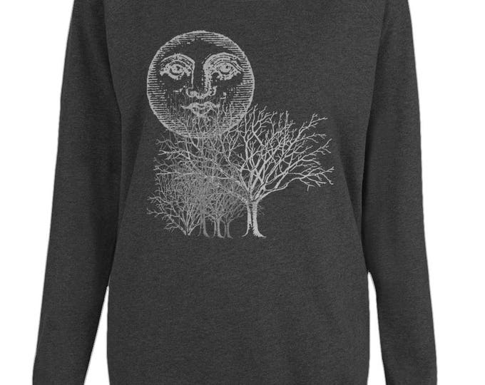 Moon And Trees Altered Vintage Art Womens Organic Cotton Raglan Sweatshirt. Black.