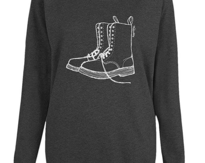 Doc Martens Boots Womens Organic Cotton Raglan Sweatshirt. Black.