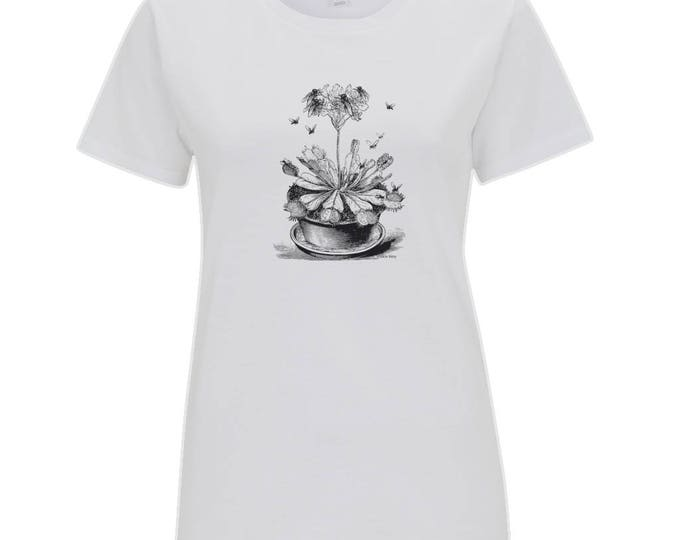 Venus Fly Trap Plant Botany Insect Women's Organic Cotton T-Shirt. White.