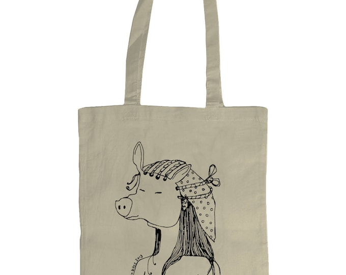 Pigface. Original Line Drawing Grahic Illustrated Tote Bag. Natural Cream.