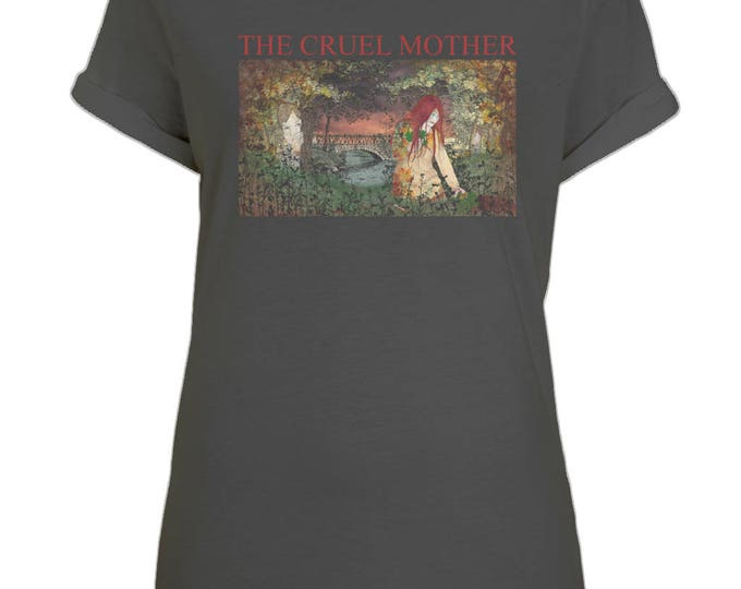 The Cruel Mother Murder Ballad Illustration Womens Organic Cotton Boyfriend Style T-Shirt With Rolled Up Sleeves. Black.