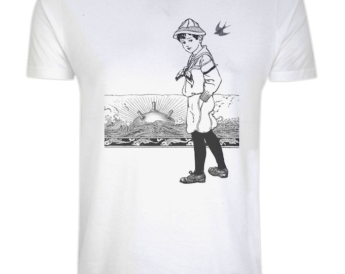 A Day At The Beach. Sunset Horizon Sailor Sea Mine Nautical Organic Cotton T-Shirt. White. Plus Sizes.
