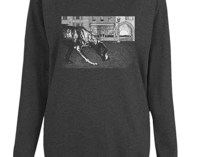 Black Dog Soleil Original Illustration Womens Organic Cotton Raglan Sweatshirt. Black.