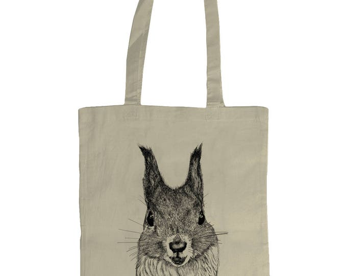 Red Squirrel Original Line Drawing Wildlife Art Illustrated Graphic Tote Bag. Natural Cream.