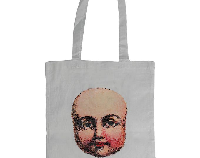 Vintage Baby Doll Face Design. Illustrated Graphic Tote Bag. White.