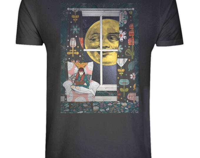 Mildred's Moon Illustration Print Organic Cotton T Shirt. Sizes S-5XL. Plus Sizes. Black.