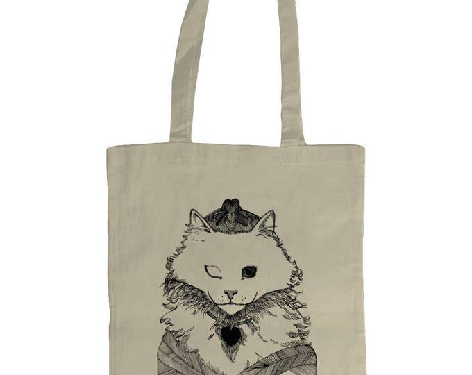 Winkin Princess Cat. Original Line Drawing Illustrated Graphic Tote Bag. Natural Cream.