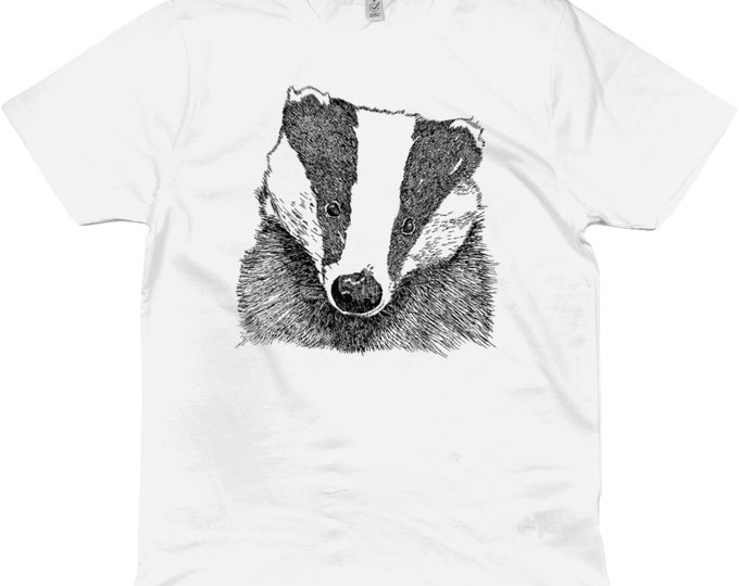Badger Original Wildlife Line Drawing Illustrated Organic Cotton T-Shirt. White Or Heather Grey. Plus Sizes.