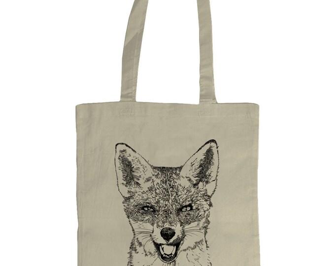 Red Fox Original Line Drawing Wildlife Art Illustrated Graphic Tote Bag. Natural Cream.