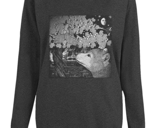 Baby Tree Dragon And Wolf Cub Original Illustration Womens Organic Cotton Raglan Sweatshirt. Black.