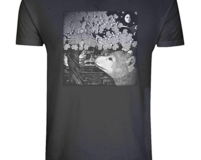 Baby Dragon And Wolf Cub Print Organic Cotton T Shirt. Sizes S-5XL. Plus Sizes. Black.