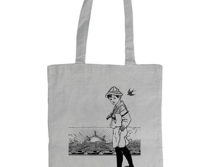In Plain Sight. Altered Vintage Art Illustrated Graphic Tote Bag. White.