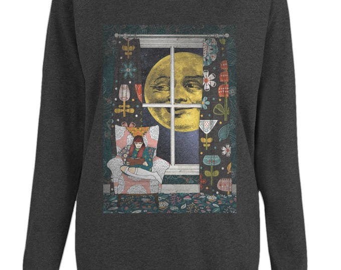 Mildred's Moon Original Illustration Womens Organic Cotton Raglan Sweatshirt. Black.