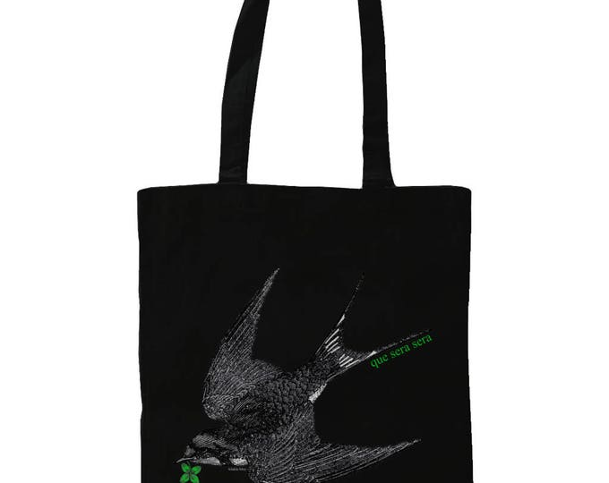 Que Sera Sera. Graphic Tote Bag With Swallow Dead Bird And Lucky Four Leaf Clover Design. Black.