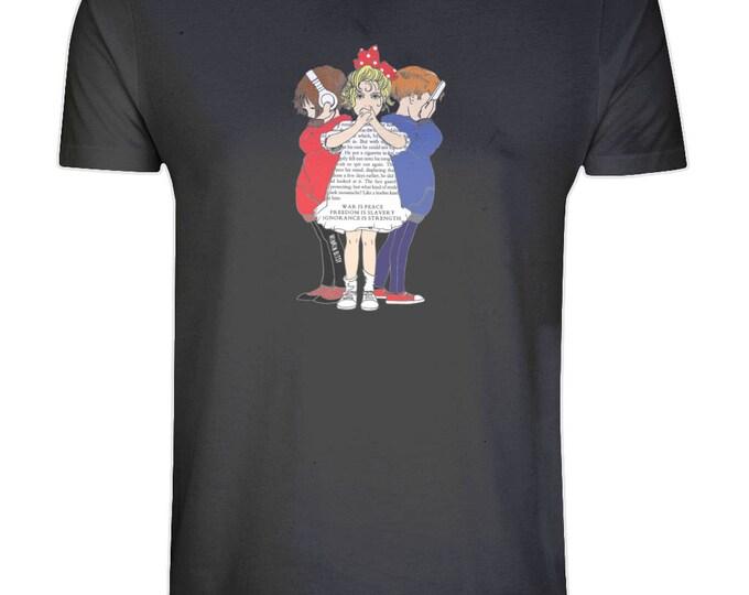 1984 George Orwell Quote Children Altered Vintage Art Illustration Organic Cotton T-Shirt. Black. Plus Sizes.