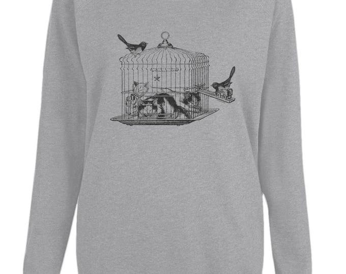 Cats Sleeping In Bird Cage Graphic Womens Organic Cotton Raglan Sweatshirt. Grey.