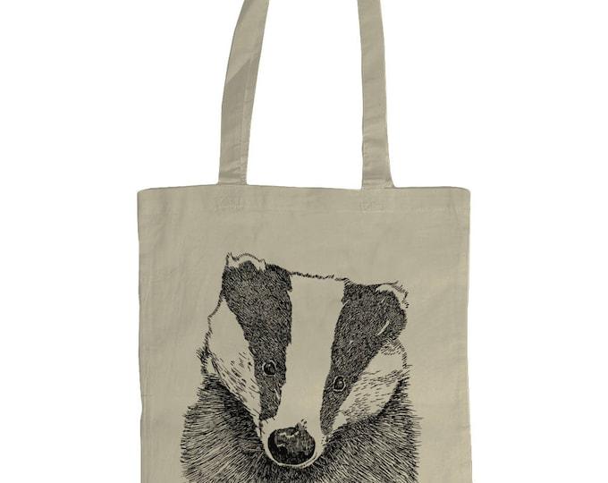 Badger. Hand Drawn Wildlife Nature Original Line Drawing Illustrated Graphic Tote Bag. Natural Cream.
