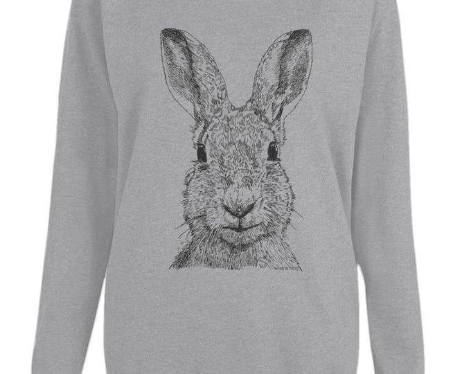 Hare Rabbit Bunny Art Original Line Drawing Womens Organic Cotton Raglan Sweatshirt. Grey.
