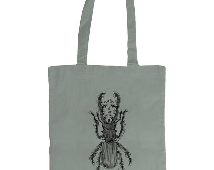 Ugly Is In The Eye Of The Beholder. Stag Beetle Insect Original Line Drawing Tote Bag. Grey.