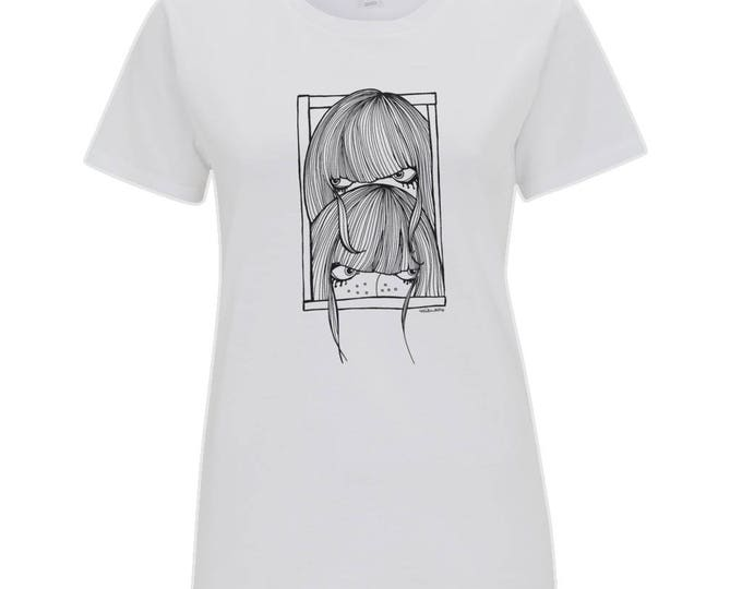 Seek Not Hide Shy Girls Original Line Drawing Women's Organic Cotton T-Shirt. White.