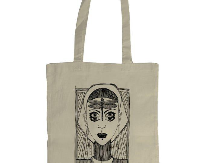 Dragonfly Girl. Original Line Drawing Grahic Illustrated Tote Bag. Natural Cream.
