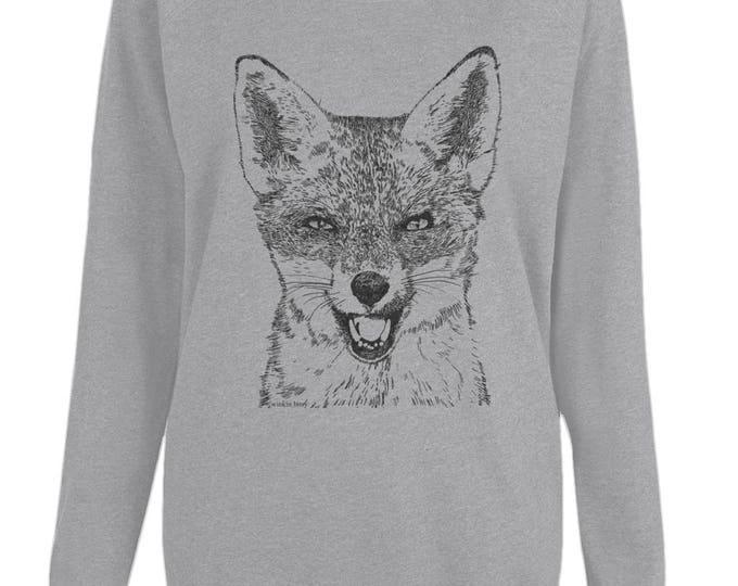 Red Fox Wildlife Art Original Line Drawing Illustration Womens Organic Cotton Raglan Sweatshirt. Grey.