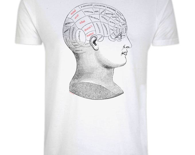 Vintage Phrenology Diagram Head 'Mind Over What Doesn't Matter' Illustrated Organic Produced Cotton T-Shirt. White. Plus Sizes.